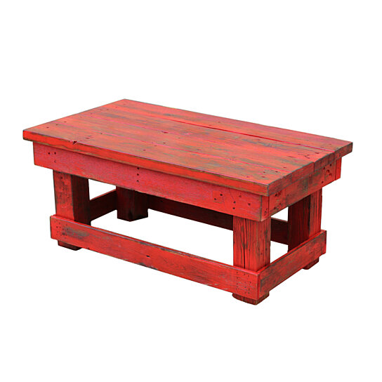 rustic red coffee table