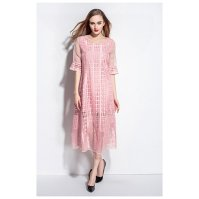 Buy Pink Lace Applique Sheer Overlay Tea Length Casual