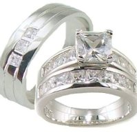 Buy His & Her 3 Piece AAA Quality Cz Wedding Ring Set 925 ...