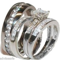 Buy His & Her 4 Piece Wedding Ring Set 925 Sterling Silver ...