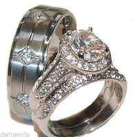 Buy His & Hers 3 Piece Halo Cz Wedding Band Ring Set ...