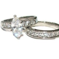 Buy His & Hers 3 Piece Marquise Cut Cz Wedding Engagement ...