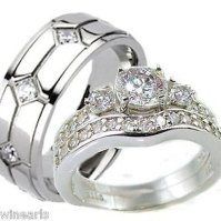 Buy His & Hers 3 Piece Vintage Style Wedding Ring Set ...