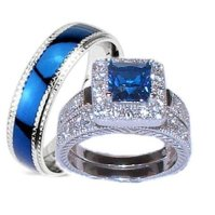 Buy His Hers 3 Piece Wedding Ring Set Sapphire Blue Cz ...
