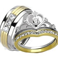 Buy His Hers Yellow Gold IP Crown Stainless Steel Men's ...