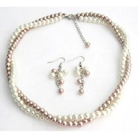 Buy Ivory Champagne Pearls Twisted Pearl Necklace Set