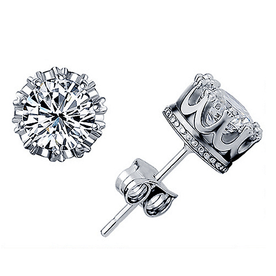 Buy Crown Stud Earrings in Sterling Silver by FashionLane