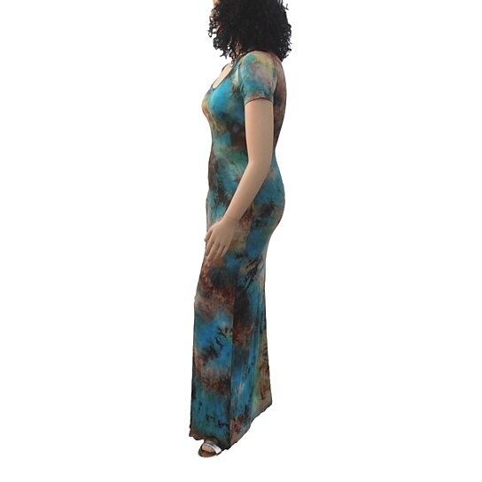 Buy Tie Dye Maxi Dress Teal Brown Multi  Plus Size by Fashions For Divas on OpenSky