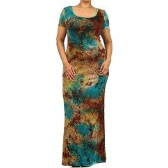 Cool Kitchen Appliances Window Valance Ideas Buy Tie Dye Maxi Dress Teal Brown Multi - Plus Size By ...