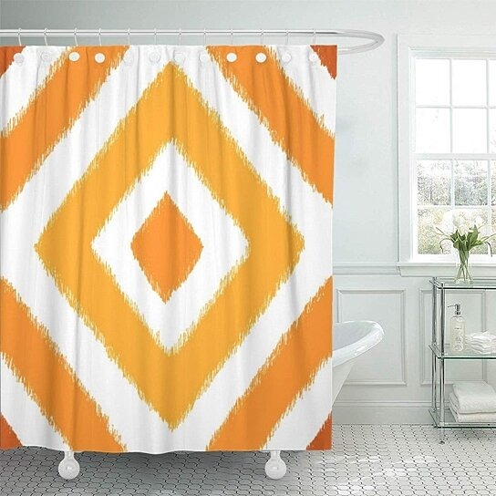 burnt orange sunset ikat diamond pattern palette aztec southwest shower curtain 66x72 inch