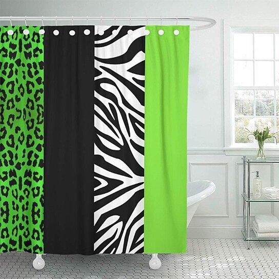 cheetah lime green leopard and zebra black cute shower curtain 66x72 inch