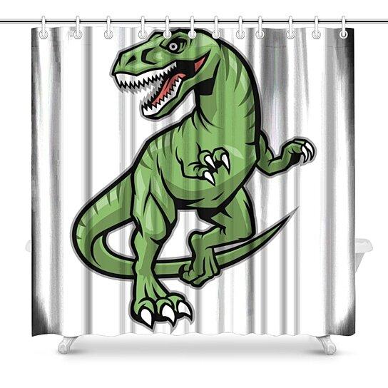 raptor dinosaur mascot art decor shower curtain 66x72 inch