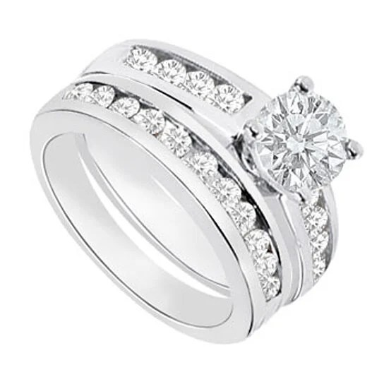 White Gold Cubic Zirconia Wedding Sets