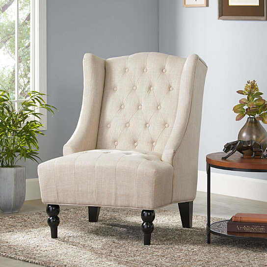 Buy Clarice Wingback Tufted Fabric Accent Chair By