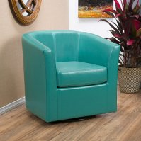 Buy Corley Turquoise Leather Swivel Club Chair by ...
