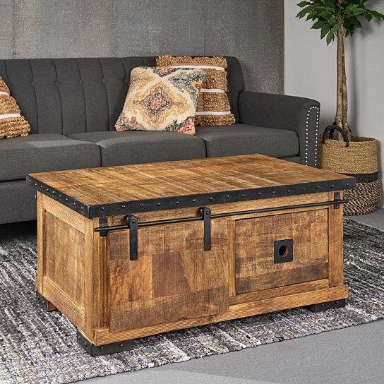 jodie modern industrial mango wood coffee table