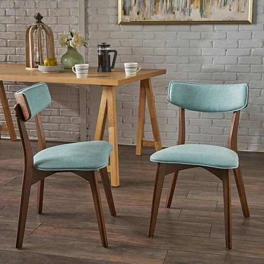 Buy Molly Mid Century Modern Dining Chairs With Rubberwood Frame Set Of 2 By Gdfstudio On Dot Bo