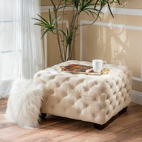 provence modern glam button tufted velvet ottoman