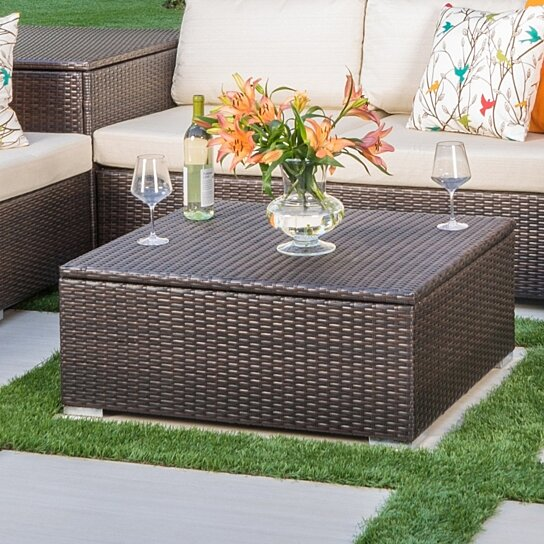 san louis obispo outdoor wicker storage coffee table