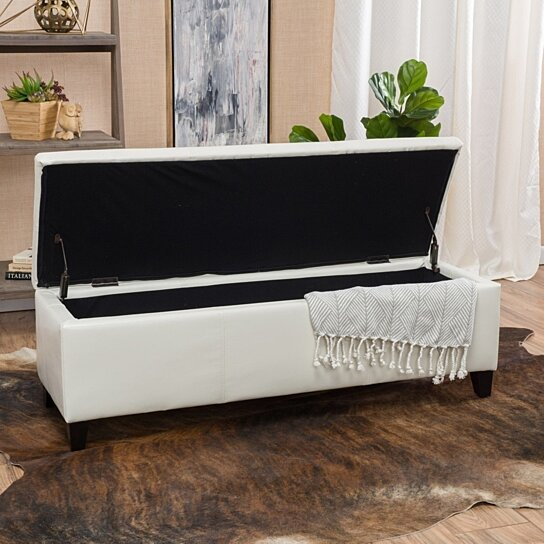 Buy Skyler Off White Leather Storage Ottoman Bench By
