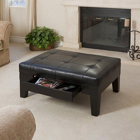 tucson black leather storage ottoman coffee table
