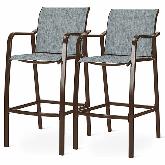 gymax set of 2 counter height bar stool dining patio chair w backrest footrest