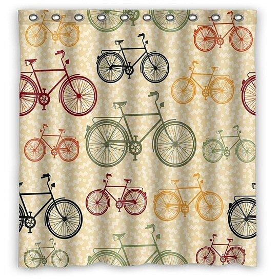 keep moving bike retro bicycle showercurtain bathroom waterproof home decor