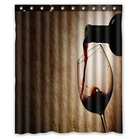 red wine glass and bottle shower curtain and hooks for home decor