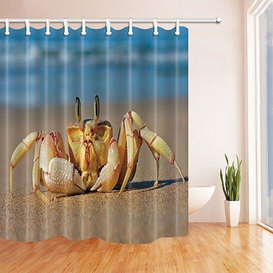tropical seaside animals decor crab walking on the beach tan bathroom shower curtain 66x72 inch