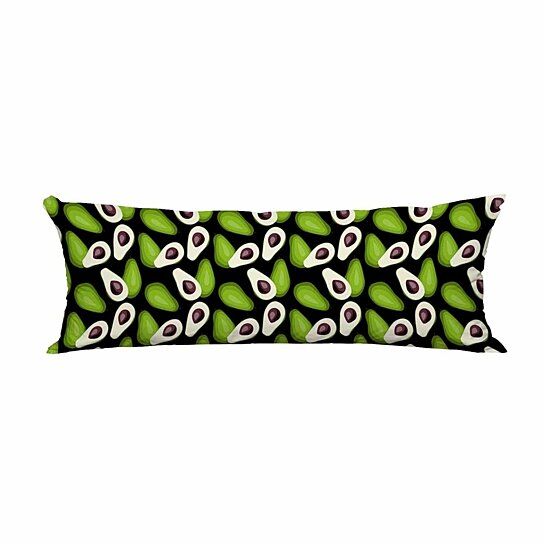 avocado pattern tile green vegetable long body pillow case cover pillow cushion size 20x60 inches