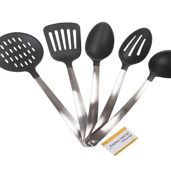 kitchen utensils set commercial degreaser for buy 5 piece nylon cooking hanging nonstick cookware with stainless steel handles by icydeals on opensky