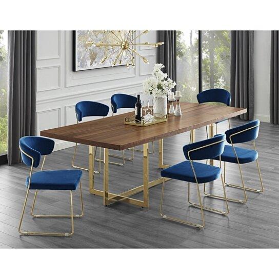 Buy Agustin Wood Veneer Dining Table Metal Base Modern Design By Inspired Home On Dot Bo