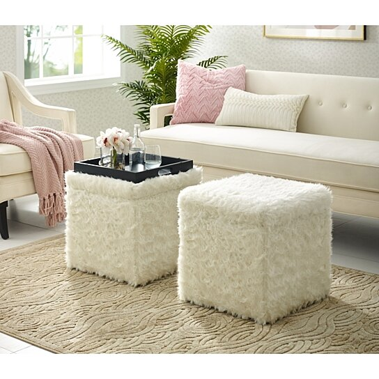 daisy faux fur ottoman storage space serving tray top cube shaped modern functional by inspired home