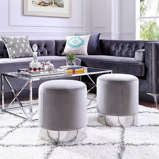 eleanor velvet round ottoman metal base upholstered modern contemporary inspired home