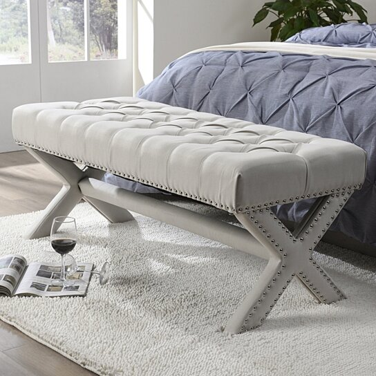 jacqueline linen button tufted bench silver nailhead trim x legs upholstered modern functional by inspired home