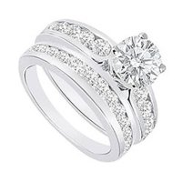 Buy Cubic Zirconia Engagement Ring with Wedding Band Sets ...