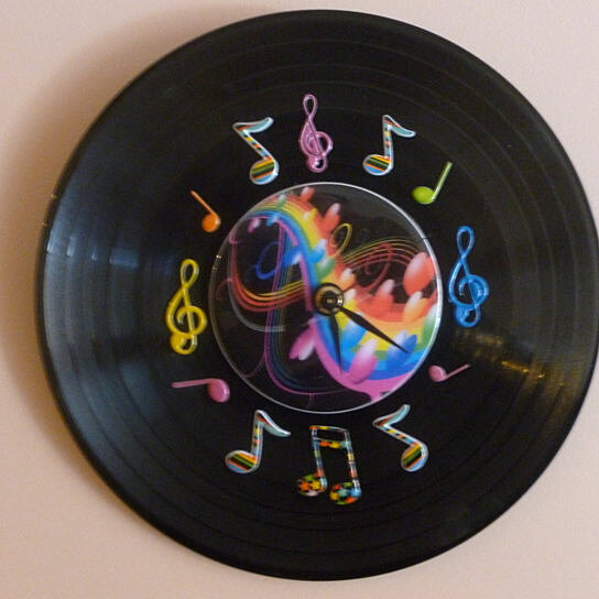 Buy Colorful Music Recycled Vinyl Record/CD Clock Wall Art