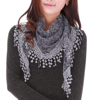 Buy Sheer Lace Crochet Trim Shawl Scarf in 16 Colors by ...