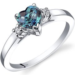 Kitchen Mittens Used Cabinets For Sale Buy 14k White Gold Created Alexandrite Diamond Heart Ring ...