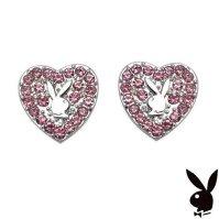Buy Playboy Earrings Heart Bunny Pink Swarovski Crystals