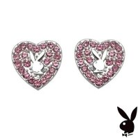 Buy Playboy Earrings Heart Bunny Pink Swarovski Crystals ...