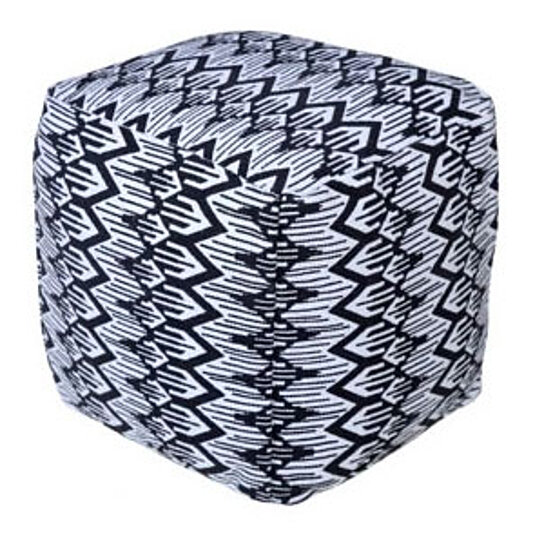spura home knitted ottoman foot rest floaty printed pouf handmade home decor