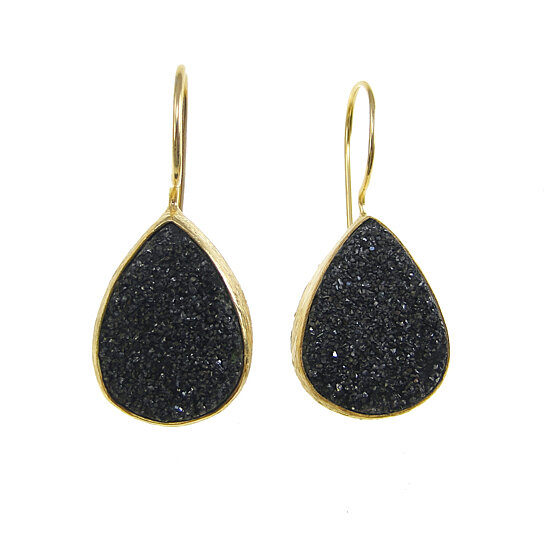 Buy Black Druzy Gold Earrings