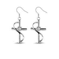 Buy Sephla 925 silver 1/2ct CZ diamond cross dangle ...