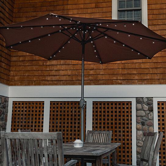 solar powered patio umbrella outdoor led string lights