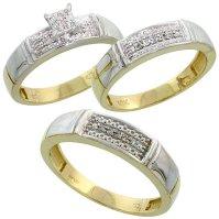 Buy 10k Yellow Gold Diamond Trio Engagement Wedding Ring ...