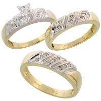 Buy 10k Yellow Gold Trio Engagement Wedding Ring Set for ...