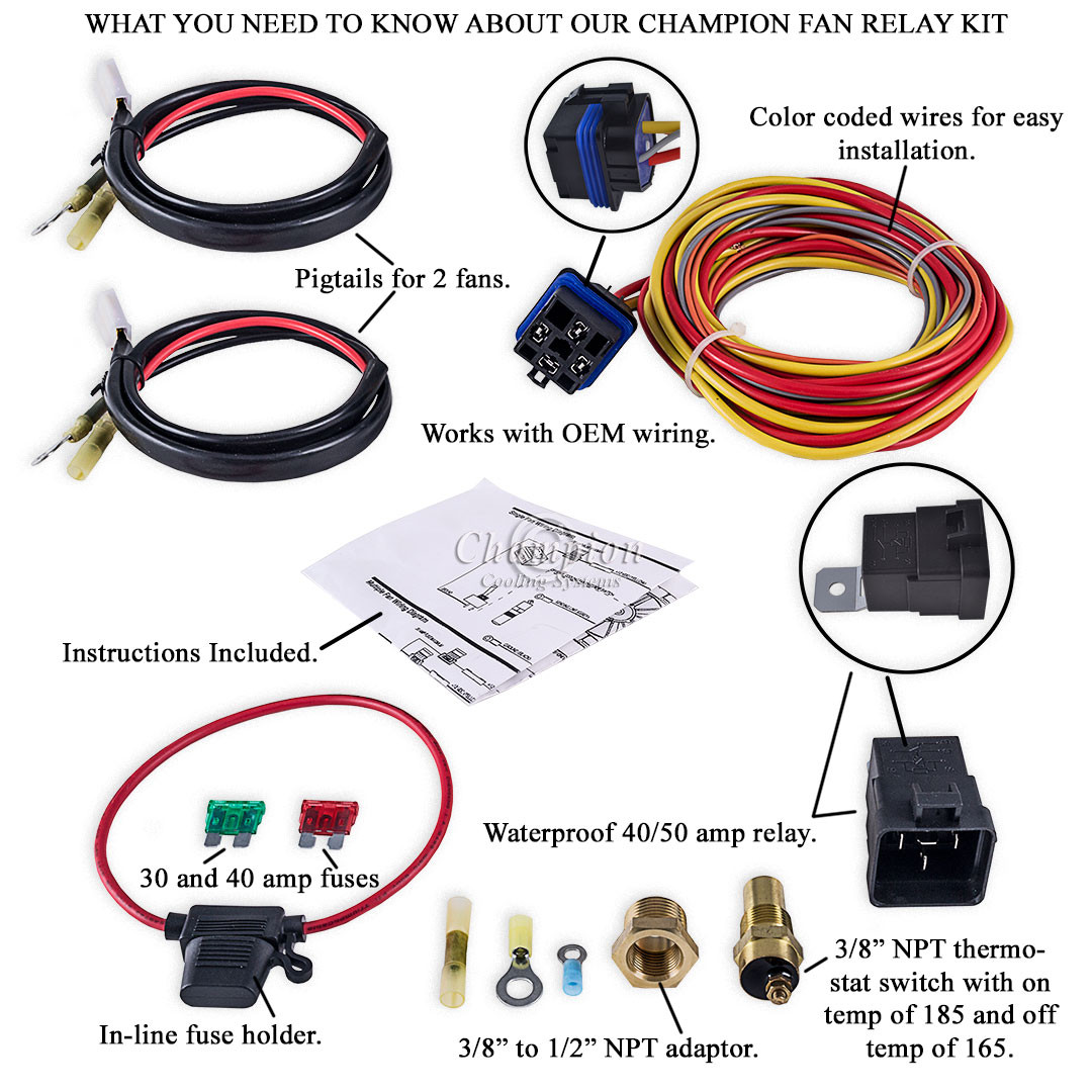 champion cooling 180 degree 40amp electric fan relay kit for single dual cooling fan wiring harness [ 1080 x 1080 Pixel ]