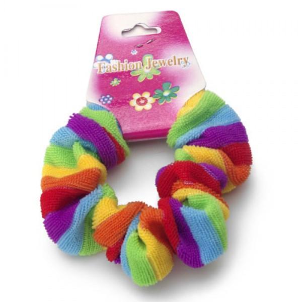 rainbow fluffy hair scrunchy pony