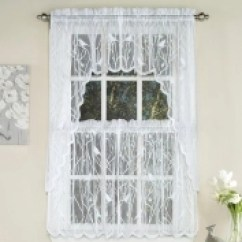 Swag Curtains For Kitchen Backsplash Marble Tiers Swags Valances Lace Songbird Curtain White